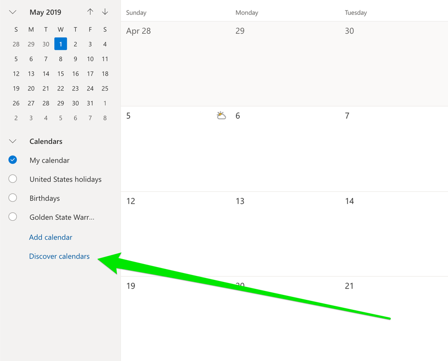Microsoft Outlook Discover calendars