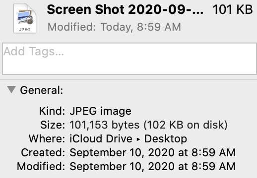 Screen Shot of Image Properties Screen