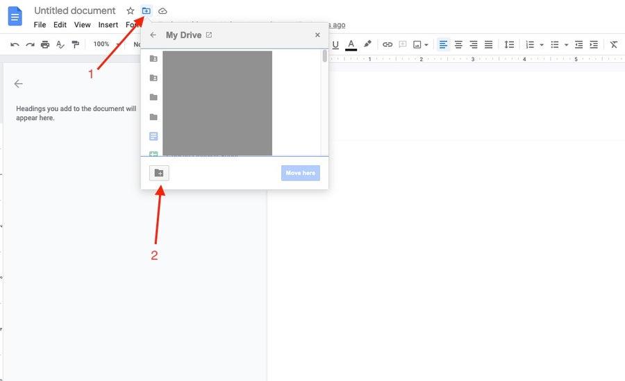 Create new folder google docs