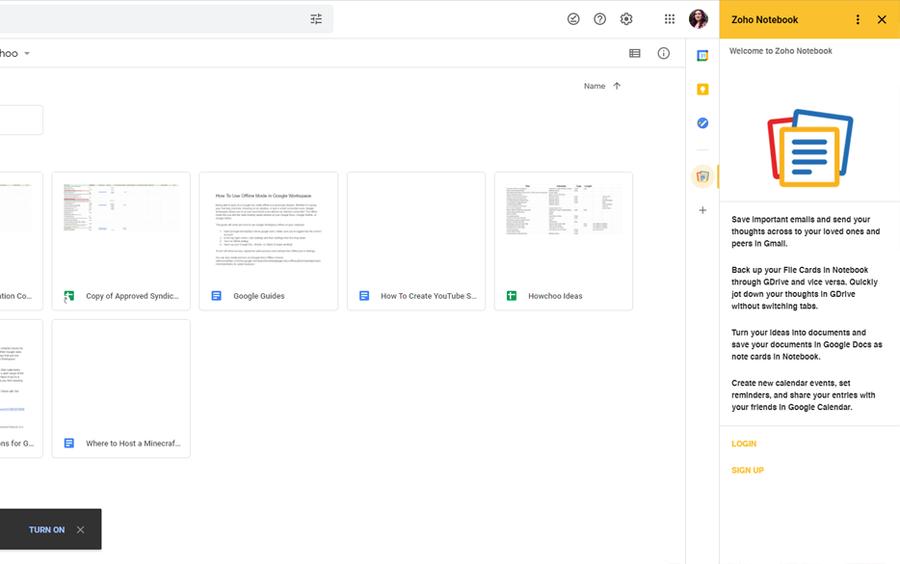 zoho notebook google workspace addon
