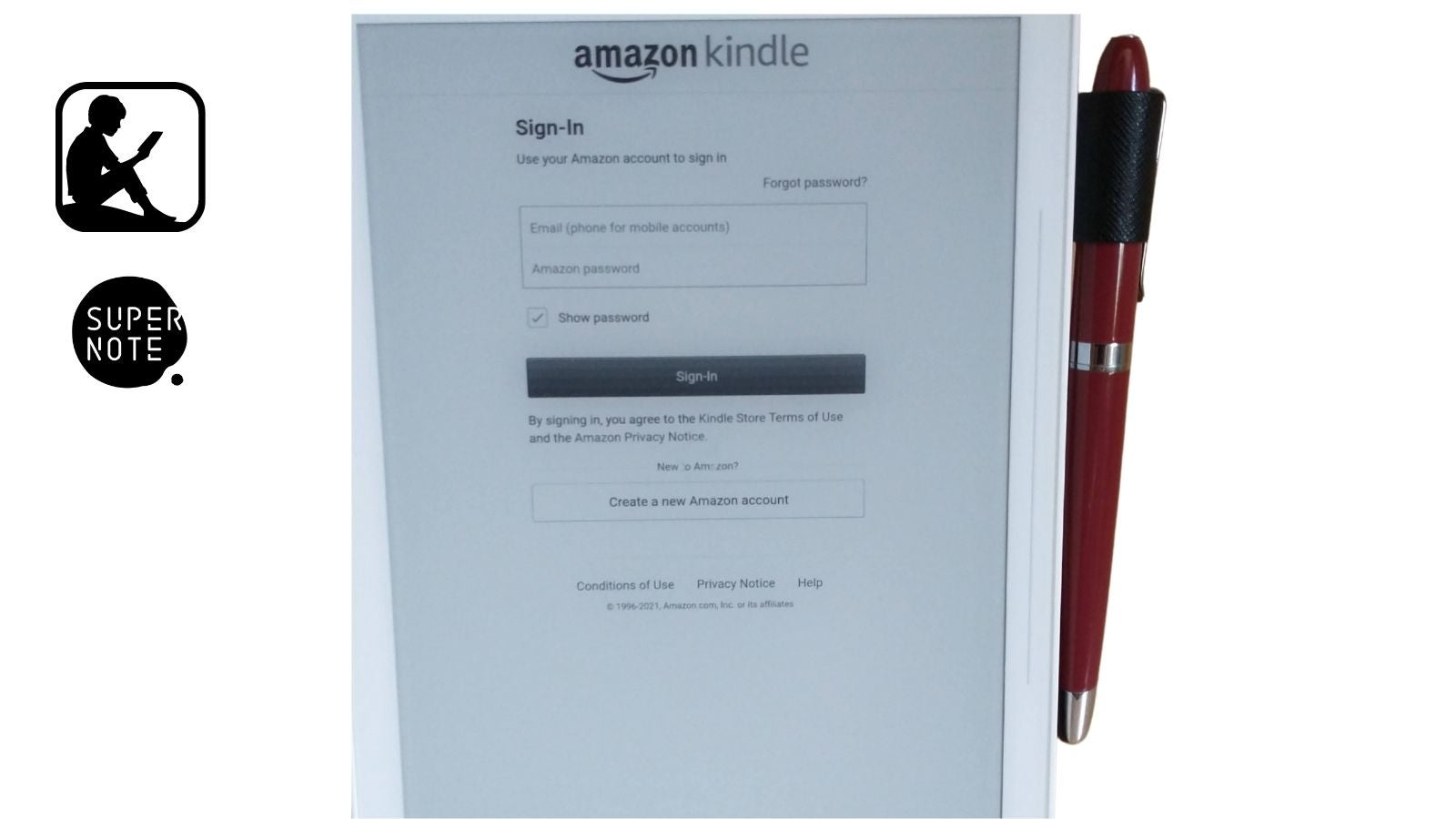 Sign in with Amazon on Kindle to sync your Kindle and Supernote
