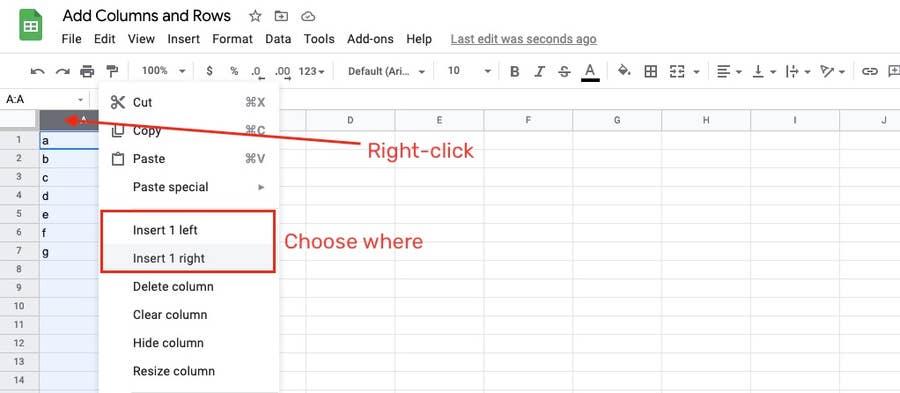 Adding a column in Google Sheets