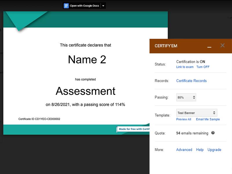 google forms addon proof of certificate certify'em
