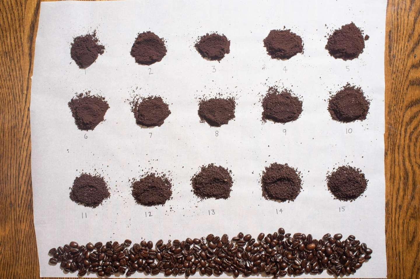 A photo with corresponding chart showing various coffee grinding sizes