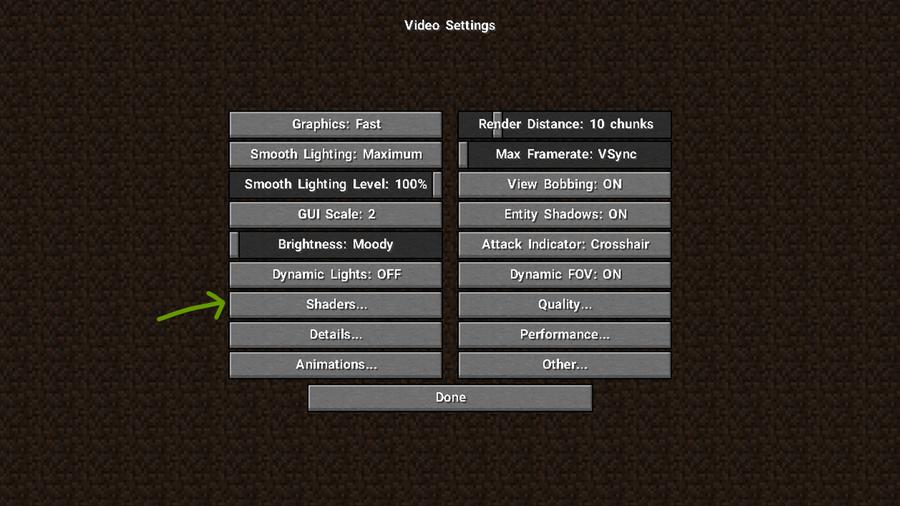 turn on shaders minecraft settings