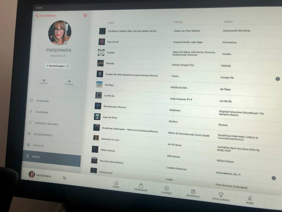 View of liked songs on the Peloton Bike