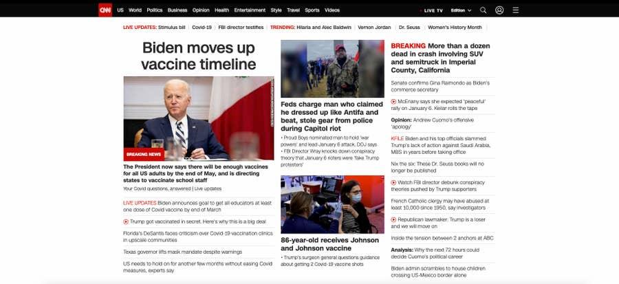 CNN homepage 2021