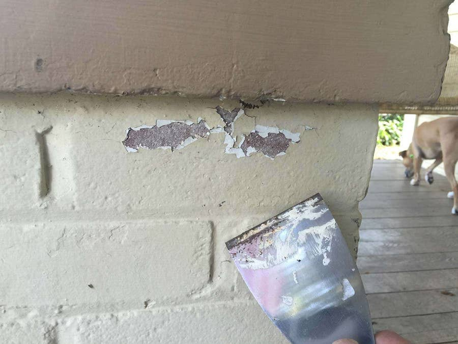 Scraping paint off a house using a paint scraper