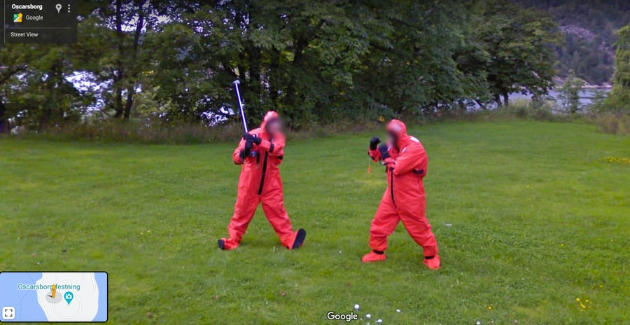 Two men fighting in red jumpsuits Oscarborg Norway