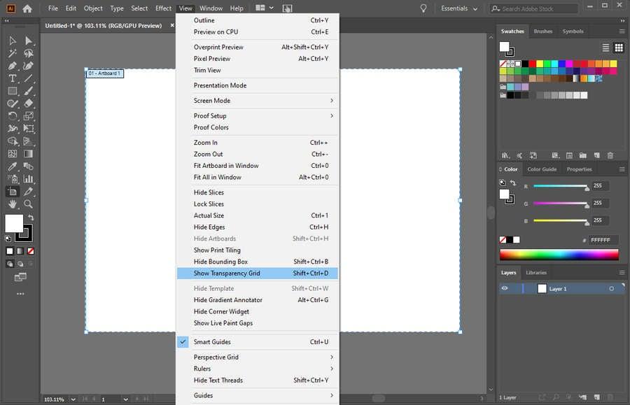 Adobe Illustrator Transparency Grid