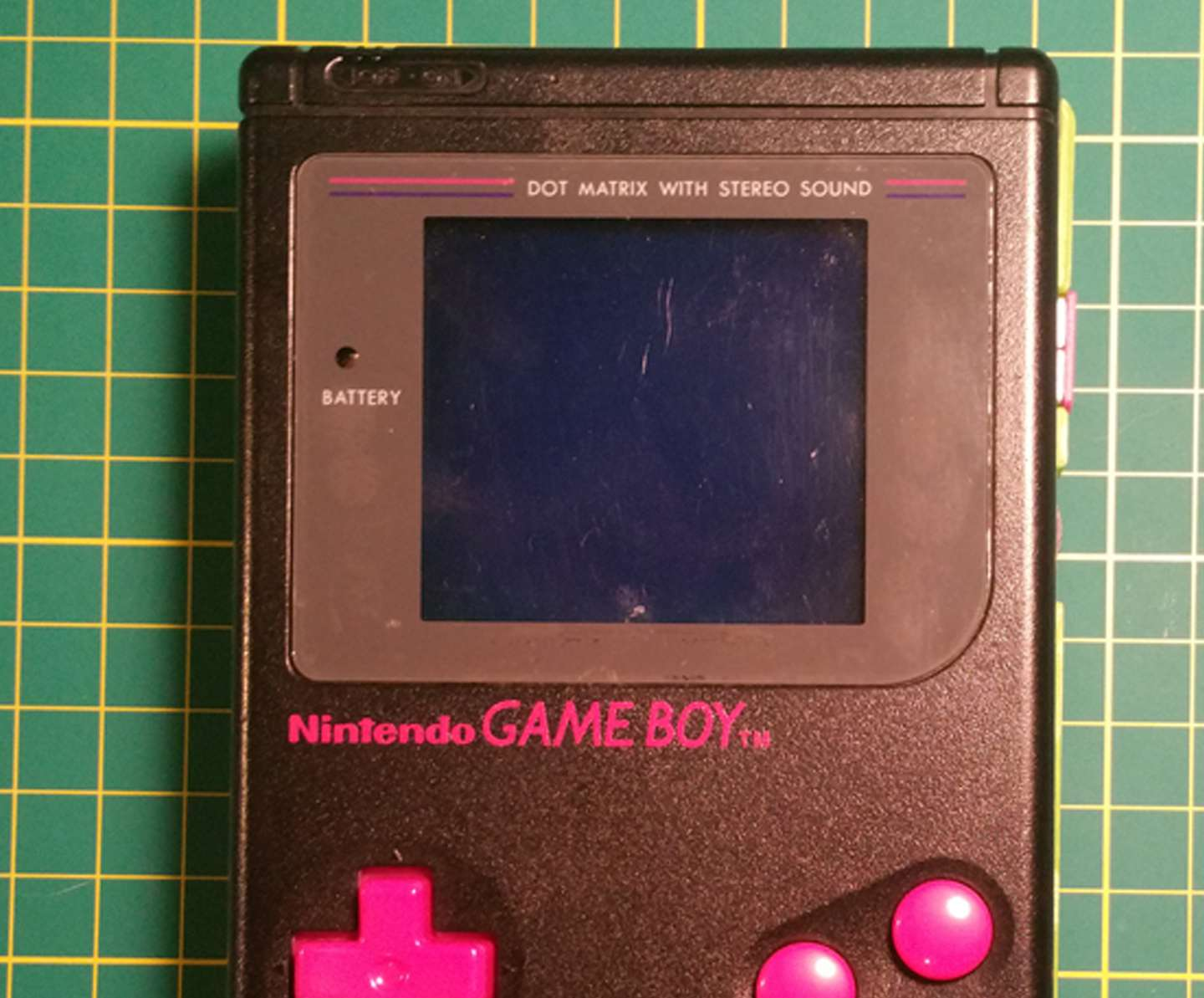 Game Boy screen has scratches