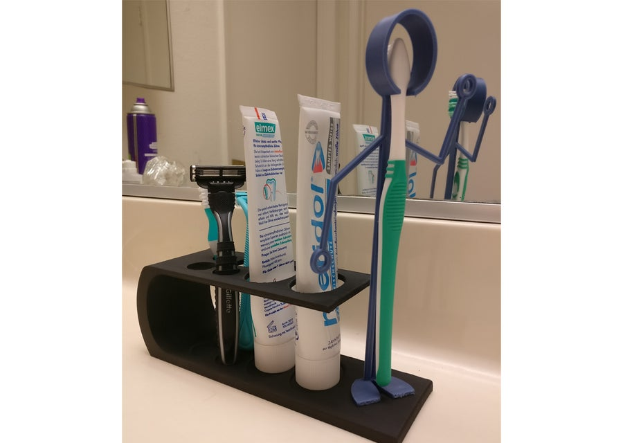 3D printed bathroom arranger toothbrush holder