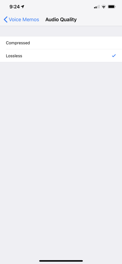 iOS Voice Memo lossless audio quality
