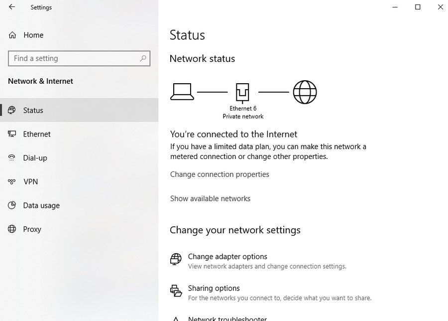 Windows 10 Network Status