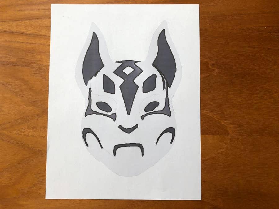 Kitsune Pumpkin Stencil Printed