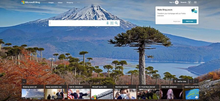 Bing homepage 2021