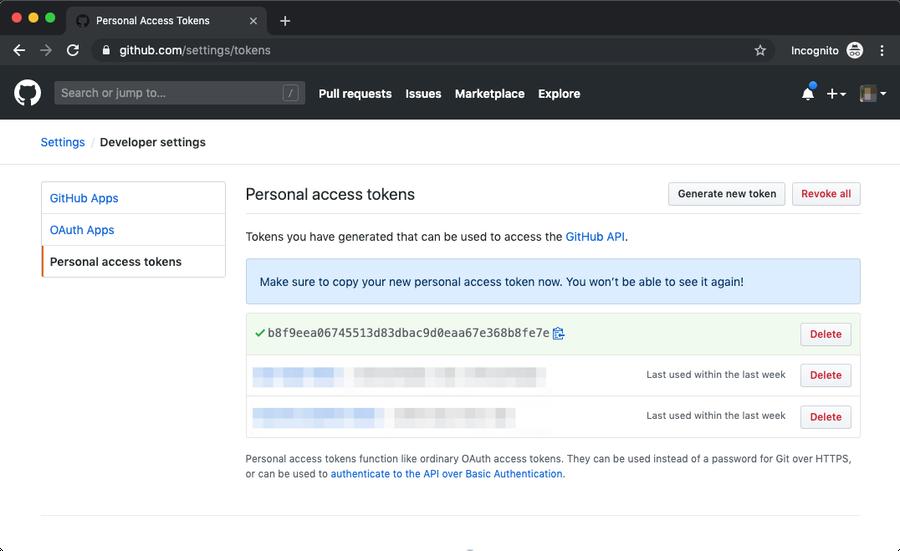 GitHub personal access tokens copy token.