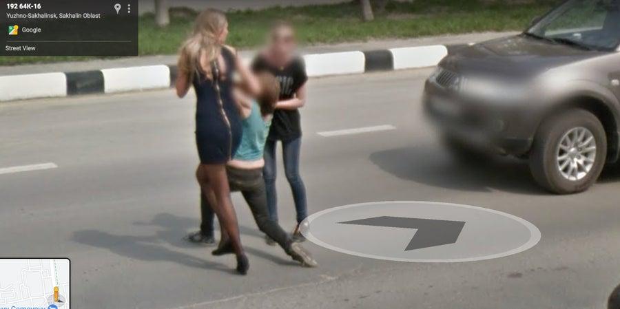 Google Street View of Woman crossing street