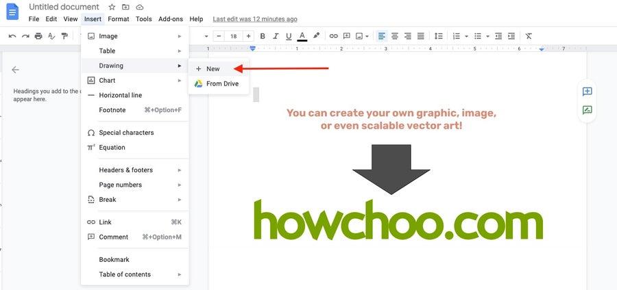 insert new drawing google docs