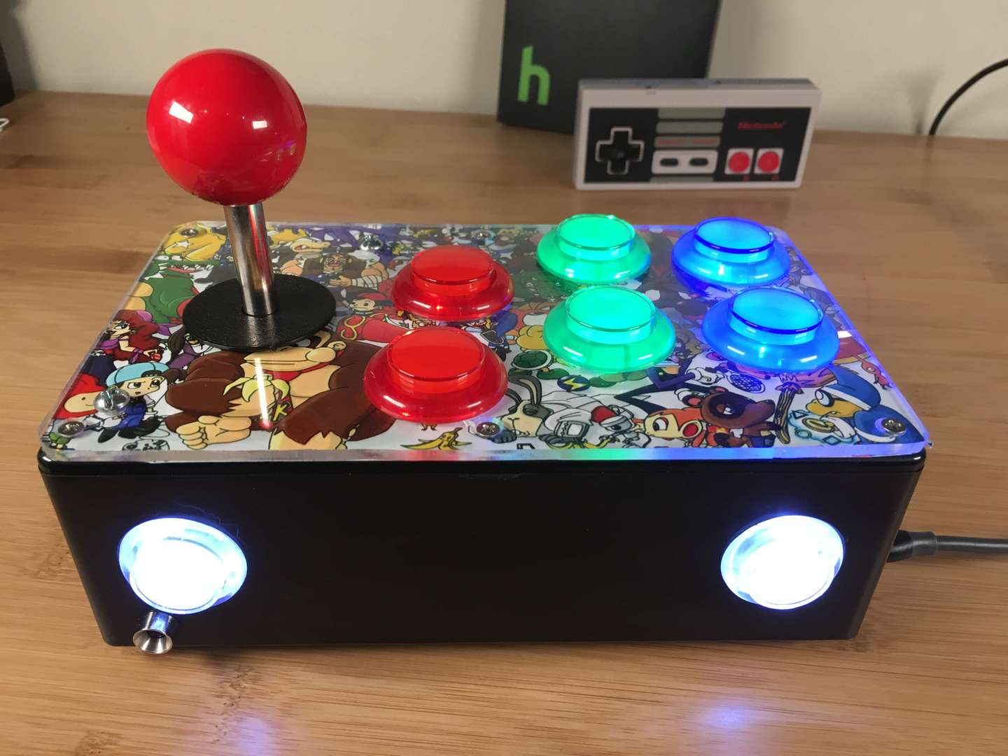 Completed DIY Raspberry Pi arcade joystick