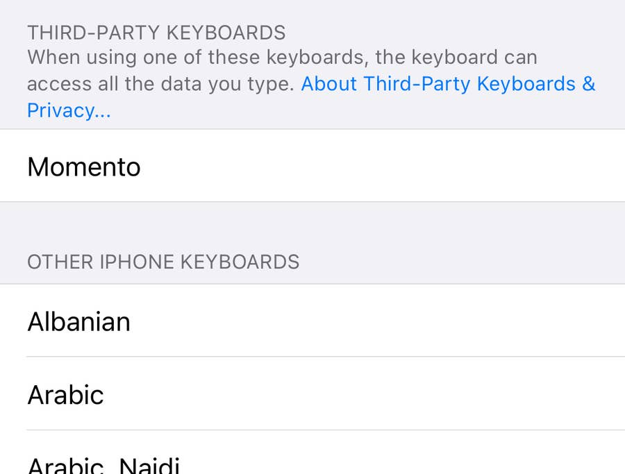 list of keyboards iphone
