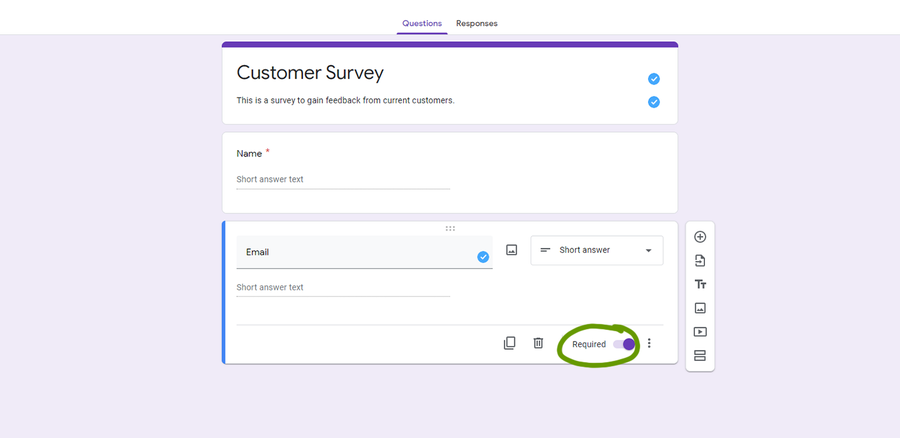 create a survey google forms make a question required