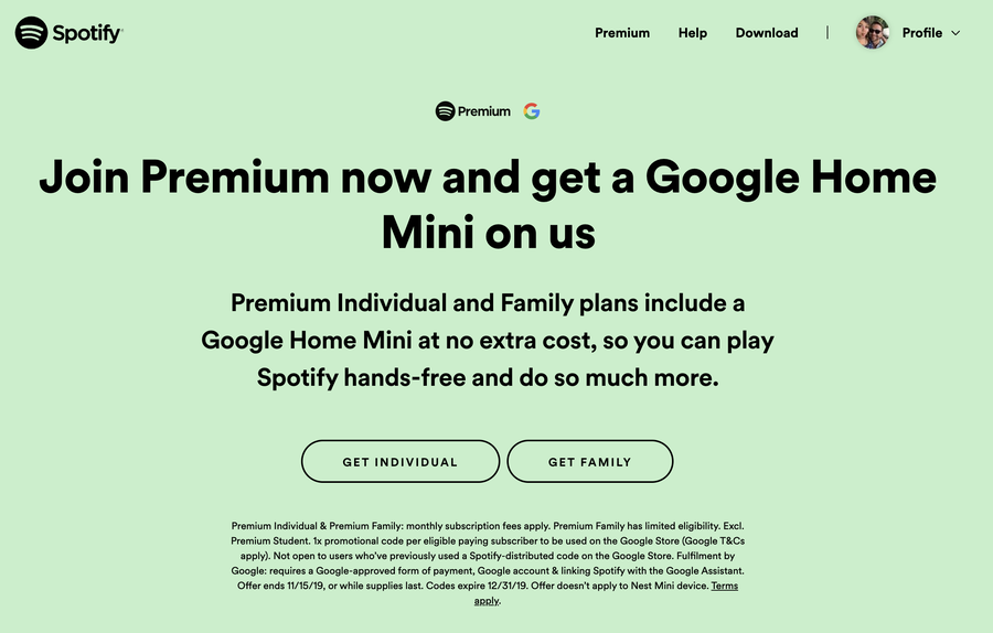 Spotify Premium Join options