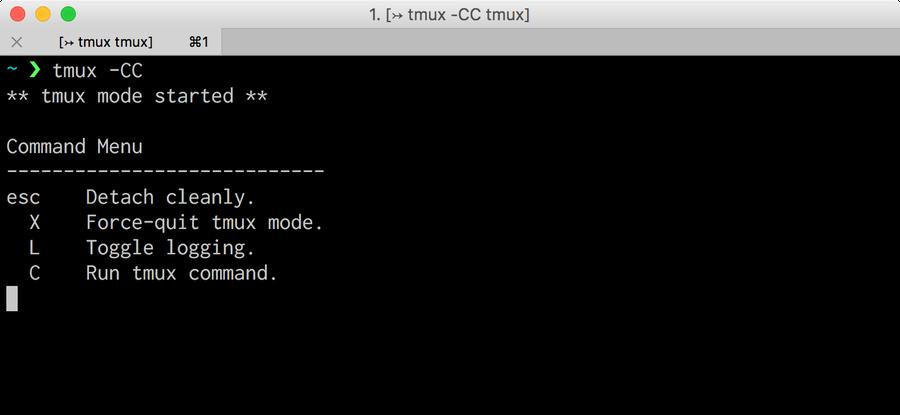 Start new tmux session using -CC option