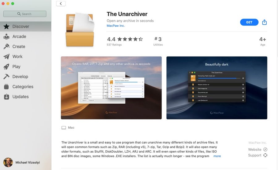 Get Unarchiver from App Store