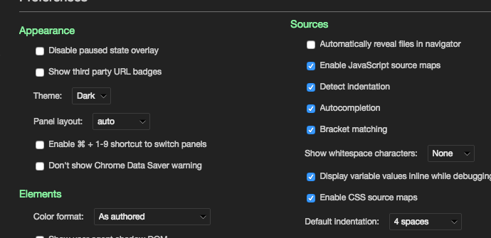 Chrome developer tools dark theme
