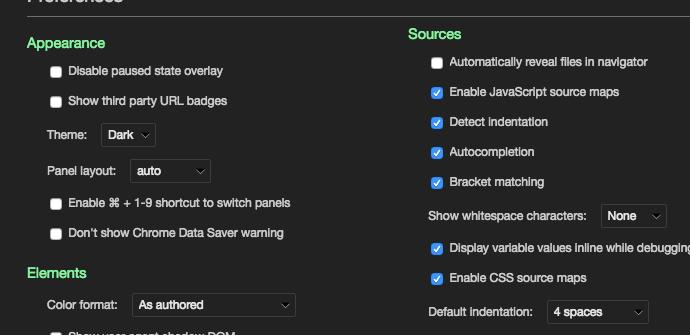 Chrome developer tools dark theme