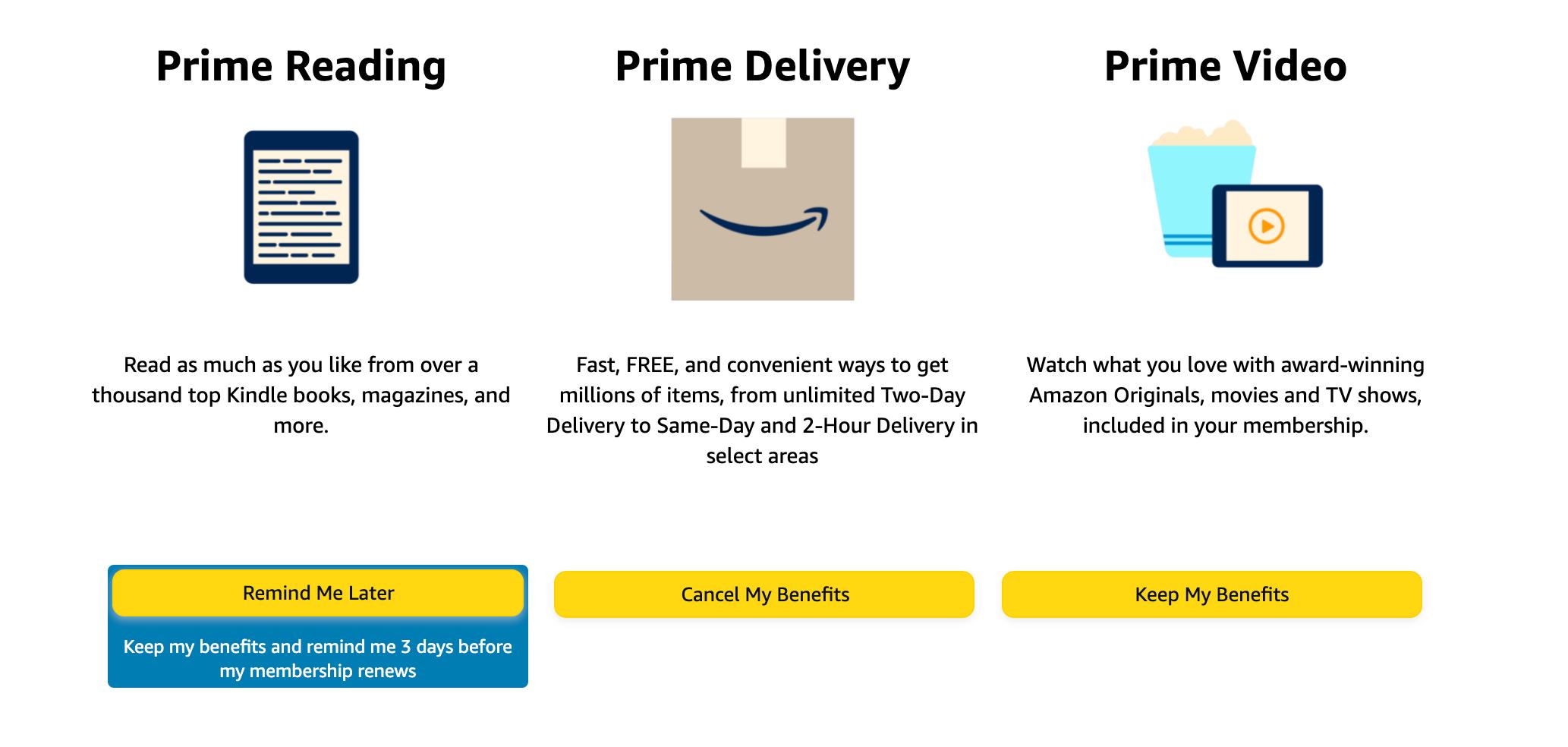 Cancel Amazon Prime Page