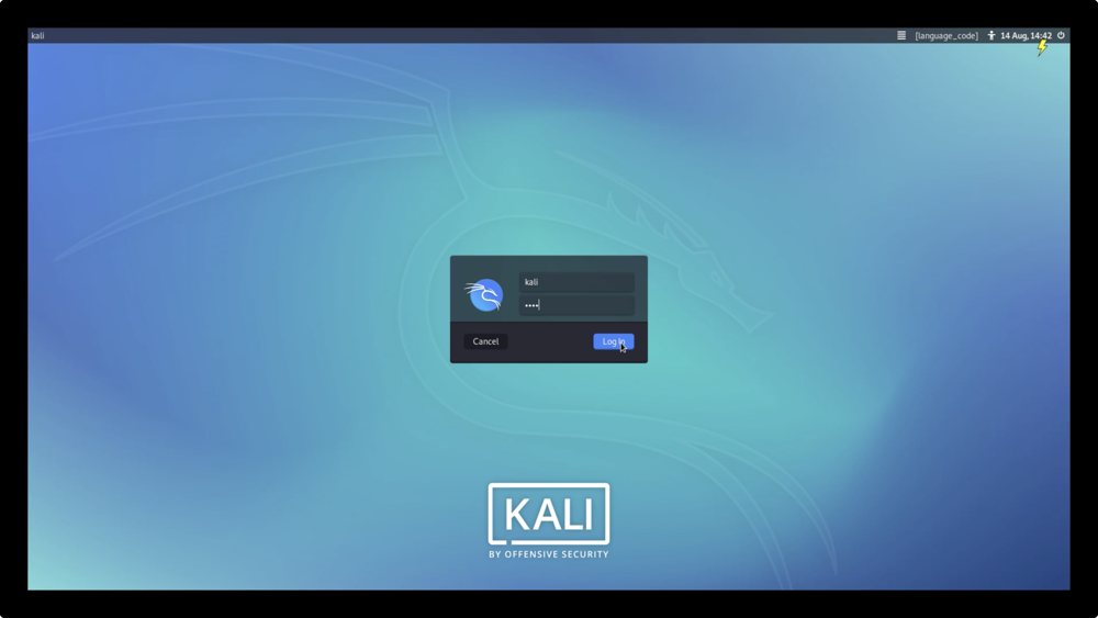 Kali Linux Sign in screen
