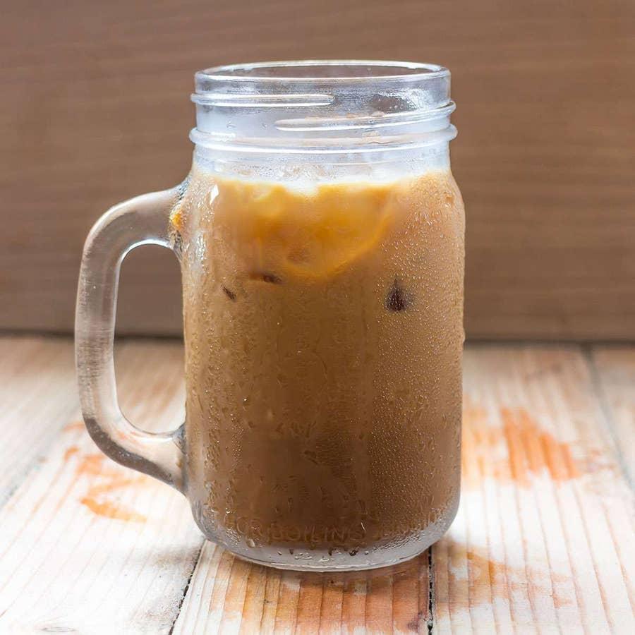 Iced coffee in a mason jar