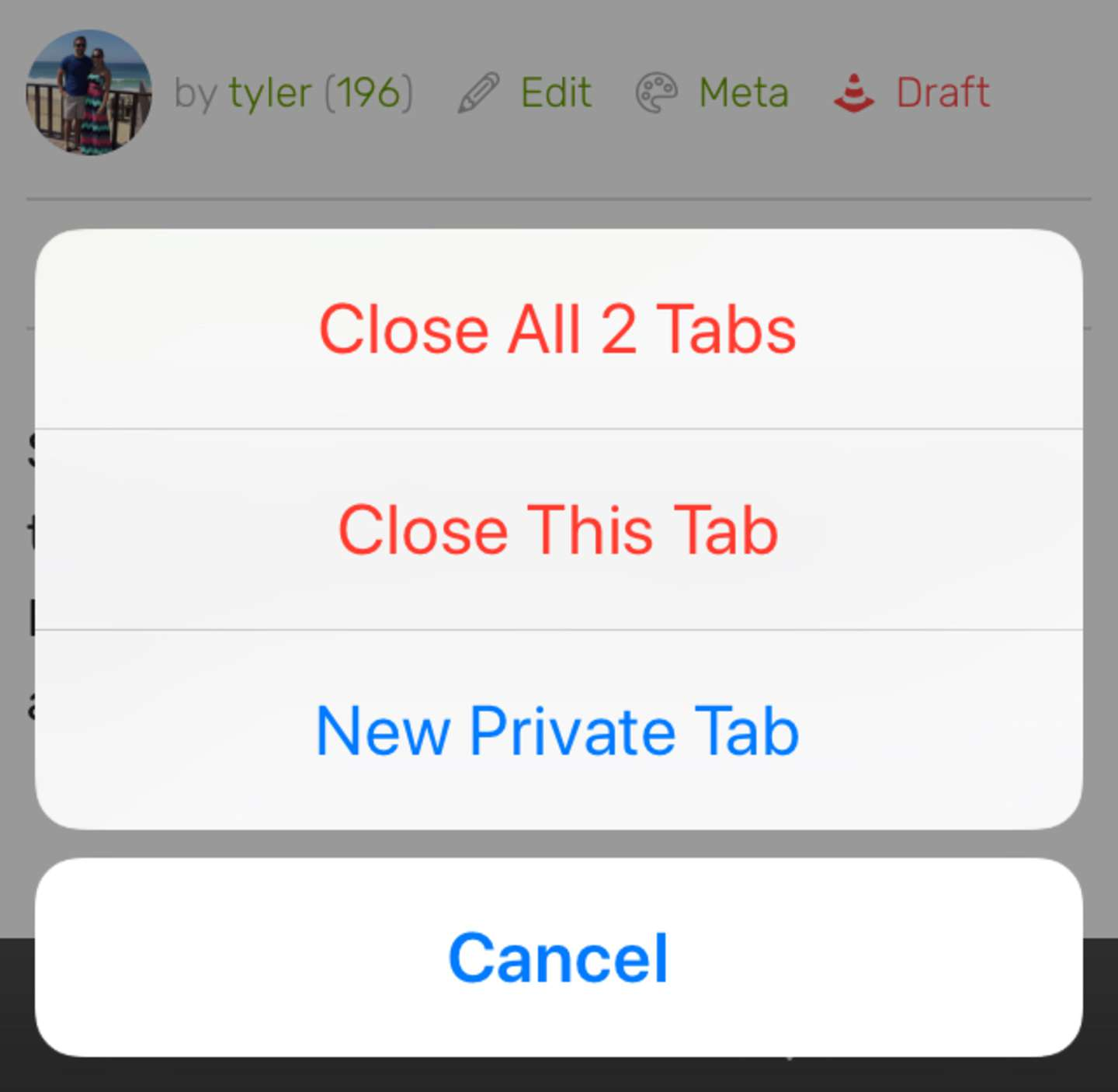 Close all tabs at once on mobile Safari