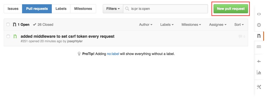 """Click """"New pull request"""""""