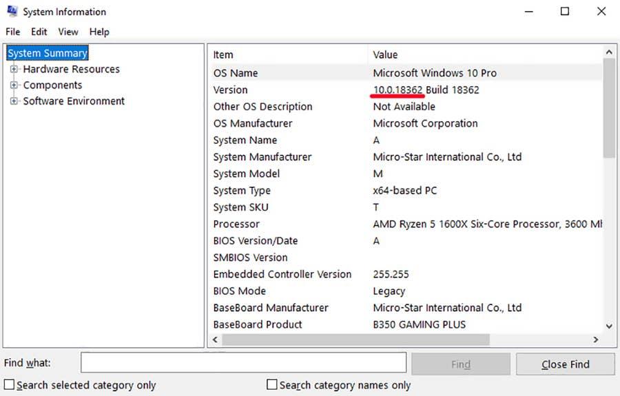 Windows Version System Information