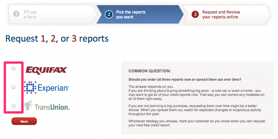 Pick the reports you want