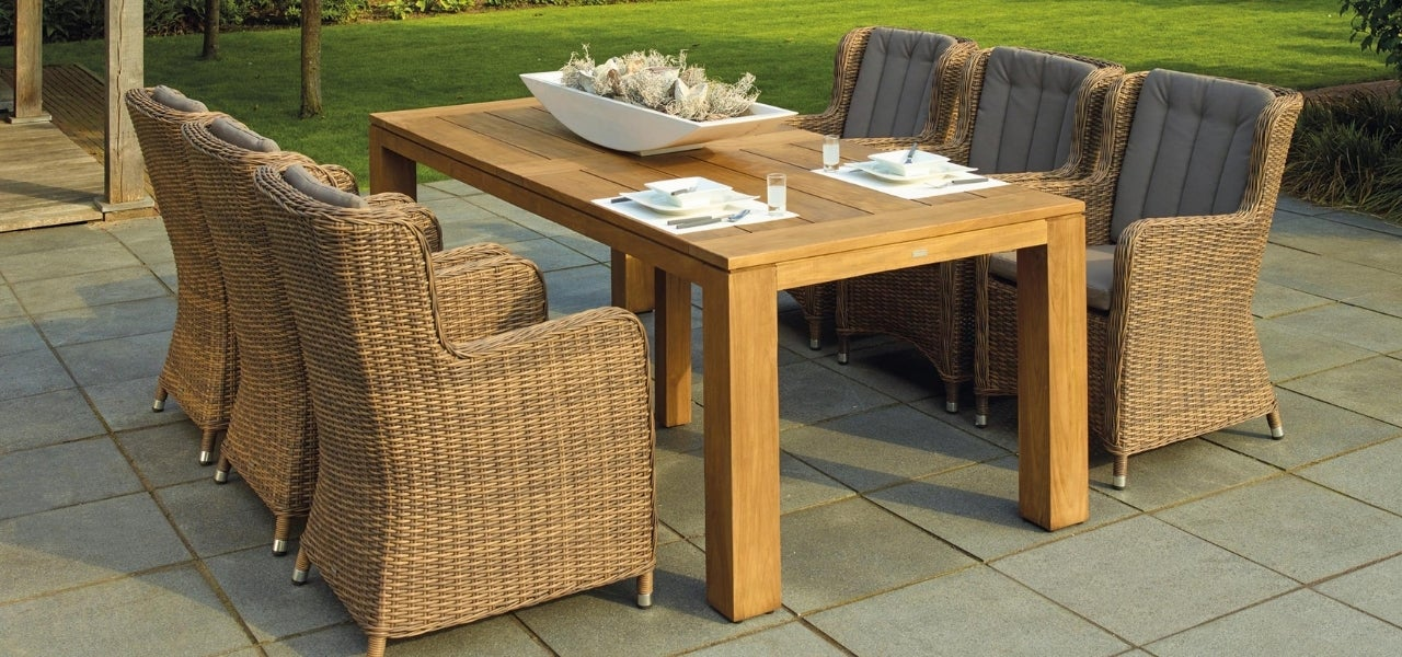 wooden table stone patio