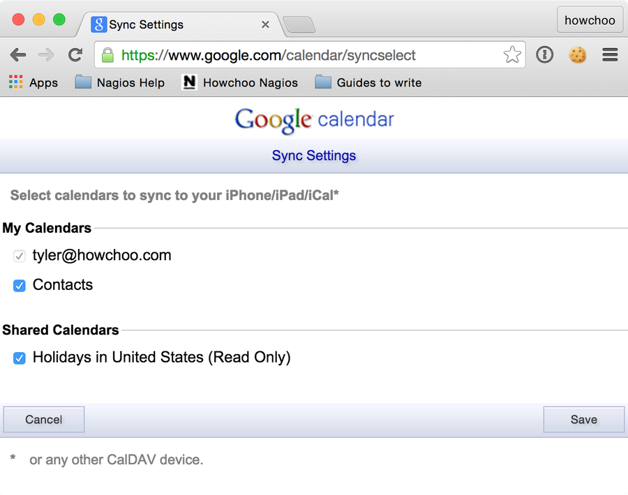 Deselect the calendars you don't want to be synced