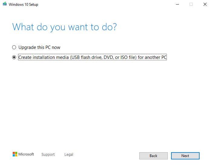 Windows 10 bootable USB settings
