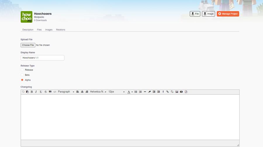 update modpack file curseforge