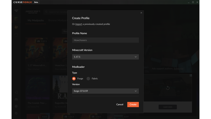 create modpack in curseforge