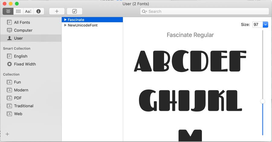 Fascinate Font Added to Mac