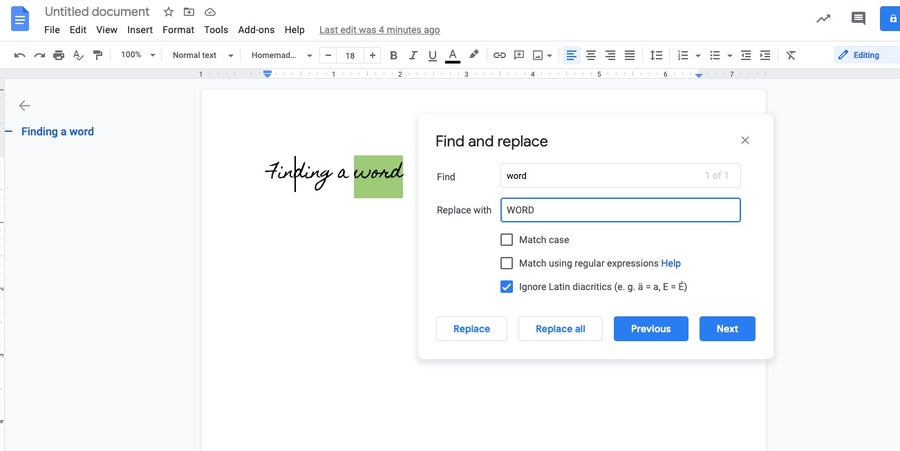 find and replace words google docs