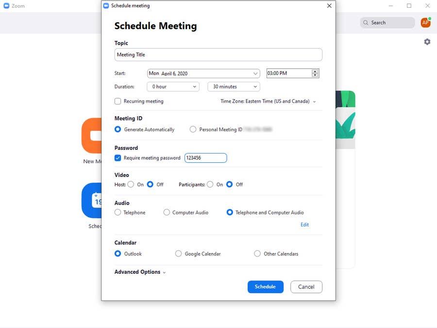 Schedule Zoom Meeting