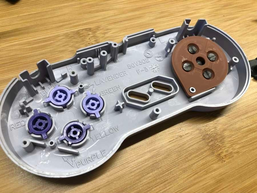 The front half of an SNES controller
