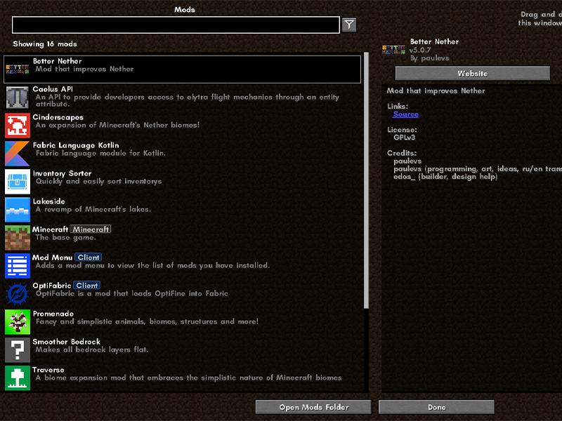 minecraft fabric mods mod menu