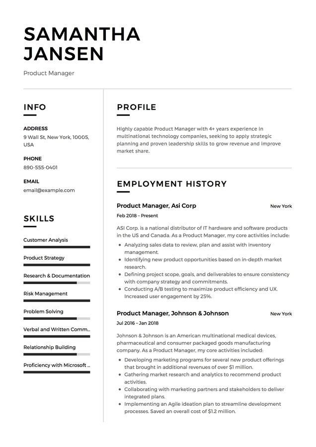 Resume Example Sans Serif