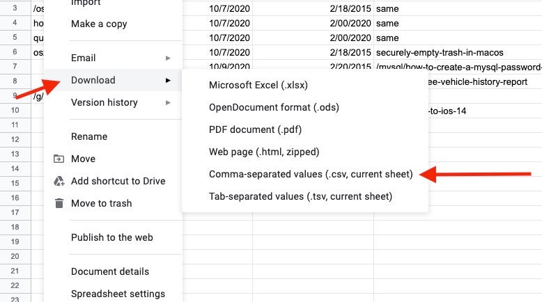 Download as a CSV in Google Sheets
